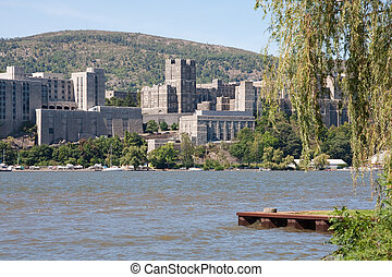 West Point Military Academy from across the Hudson River.