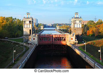 Average gate of sluice number 8 Moscow Canal in Moscow,...