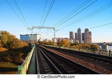 Total length of railways, river and skyscrapers in Moscow,...