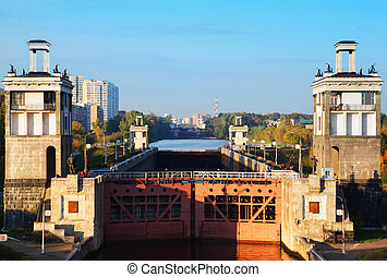 Beautiful average gate of sluice number 8 Moscow Canal in...