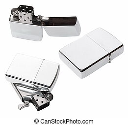 Set Silver metal zippo lighter isolated on white background...
