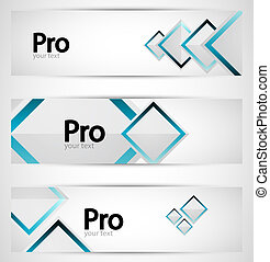 Business square banner set - Abstract squares banner...
