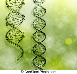DNA molecules on the natural background. Eps 10