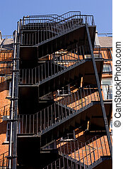external emergency fire staircase.