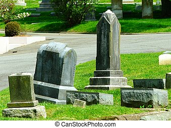 19TH CENTURY HEADSTONES - Four weathered 19th Century...