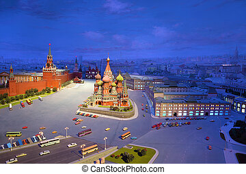 ?ardboard model of Red Square in Moscow - Kremlin, St. Basil's
