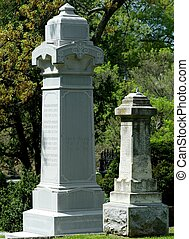 19TH CENTURY CEMETERY MONUMENTS - Two weathered 19th Century...