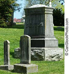 19TH CENTURY CEMETERY HEADSTONES - Two weathered 19th...
