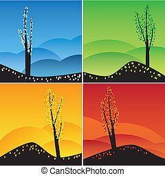 Four seasons set. - Illustration of square images of four...