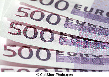 Close-up of five 500 Euro bank notes, row of european money. 2500