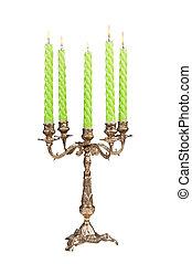 antigüedad, candelabro, abrasador, vendimia, aislado, velas