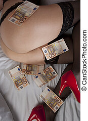 Escort fee - Some fifty euro banknotes were on thighs and...