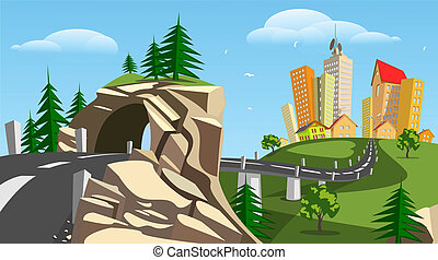 Vector city and tunnel - summer - Colorful abstract vector...