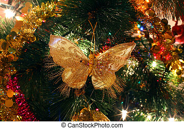 Christmas tree ornaments, bright shiny butterfly,...