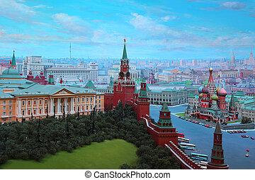 "moscú, -, enero, 7:, Kremlin, Diorama, ""Moscow,..."