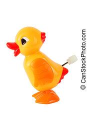 funny toy clockwork yellow duck isolated on white background