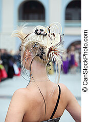 Back of woman with fanciful hairdo - MOSCOW - OCTOBER 2:...