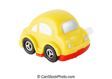 bright toy clockwork yellow automobile with silver windows on white background