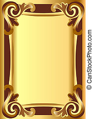 gold(en) background frame with vegetable ornament -...