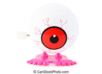 bright toy clockwork white eye with pink legs on white...
