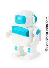funny toy clockwork wihite-blue anthropomorphic robot on...