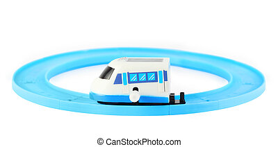 bright clockwork toy white train with blue windows on...