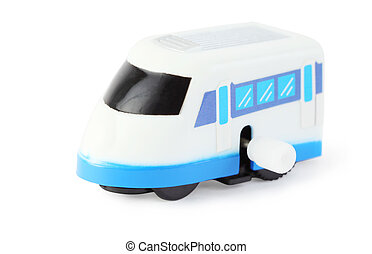 bright clockwork toy white train with blue windows on white...