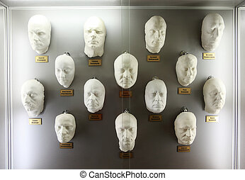 MOSCOW - JANUARY 19: White plaster casts of faces popular...