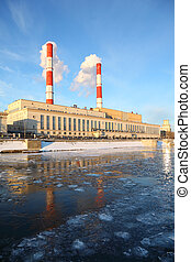 Thermal power station on Moscow River, pipes and smoke, air pollution