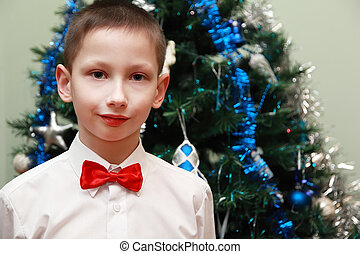 boy in white shirt and red bow tie standing near Christmas...