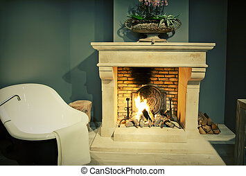 bathroom with fire place - classic bathroom with fire place