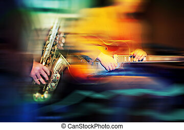 basic jazz instruments - background of motion blurfor jazz...
