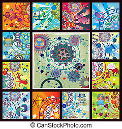 poster of all zodiacs - collage from 12 zodiac signs and...