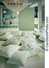 pillows in living room - home interior with pillows in...