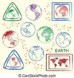 Earth Stamp Set - earth stamp set icons, vector eps10