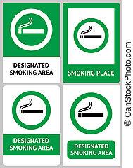 Label set Smoking place