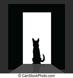 german shepard at the door silhouette art vector