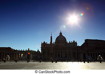 Vatican Museum in Basilica of St. Peter and obelisk at day in Rome, Italy