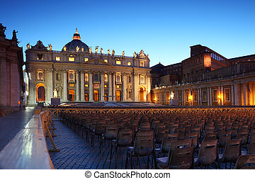 Vatican Museum in Basilica of St. Peter and rows of gray...