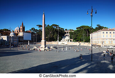obelisk on Piazza del Popolo and water flow from an ancient...