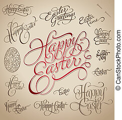 easter hand lettering set (vector)