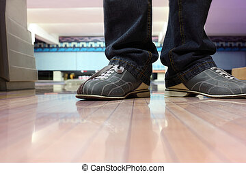 Special leather boots for bowling on feet