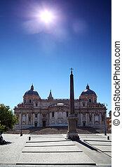 Obelisk of Santa Maria Maggiore Basilica at day in Rome, Italy