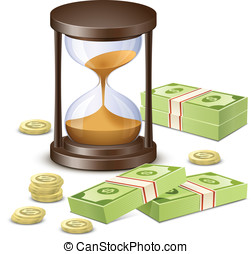Time is money. Hourglass and Money - Hourglass, banknotes...