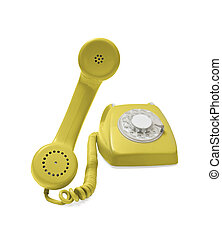 Rotary phone - Old yellow rotary phone hook and ready to...