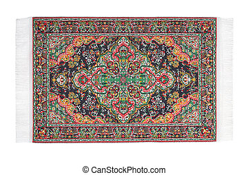 Carpet with varicoloured pattern horizontally lies on white background