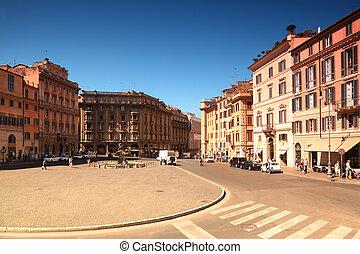 tritón, fuente, plaza, Barberini, verano, día,...