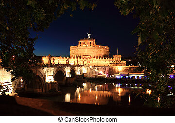 Sant' Angelo Bridge and Sant' Angelo Castel at night, beautiful old sculptures and lanterns