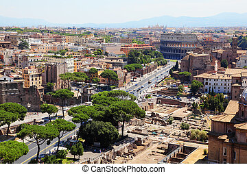 Color panoramic view Rome, Colosseum, catholic basilics and...