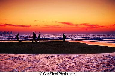 Beach - Football on the beach before sunset